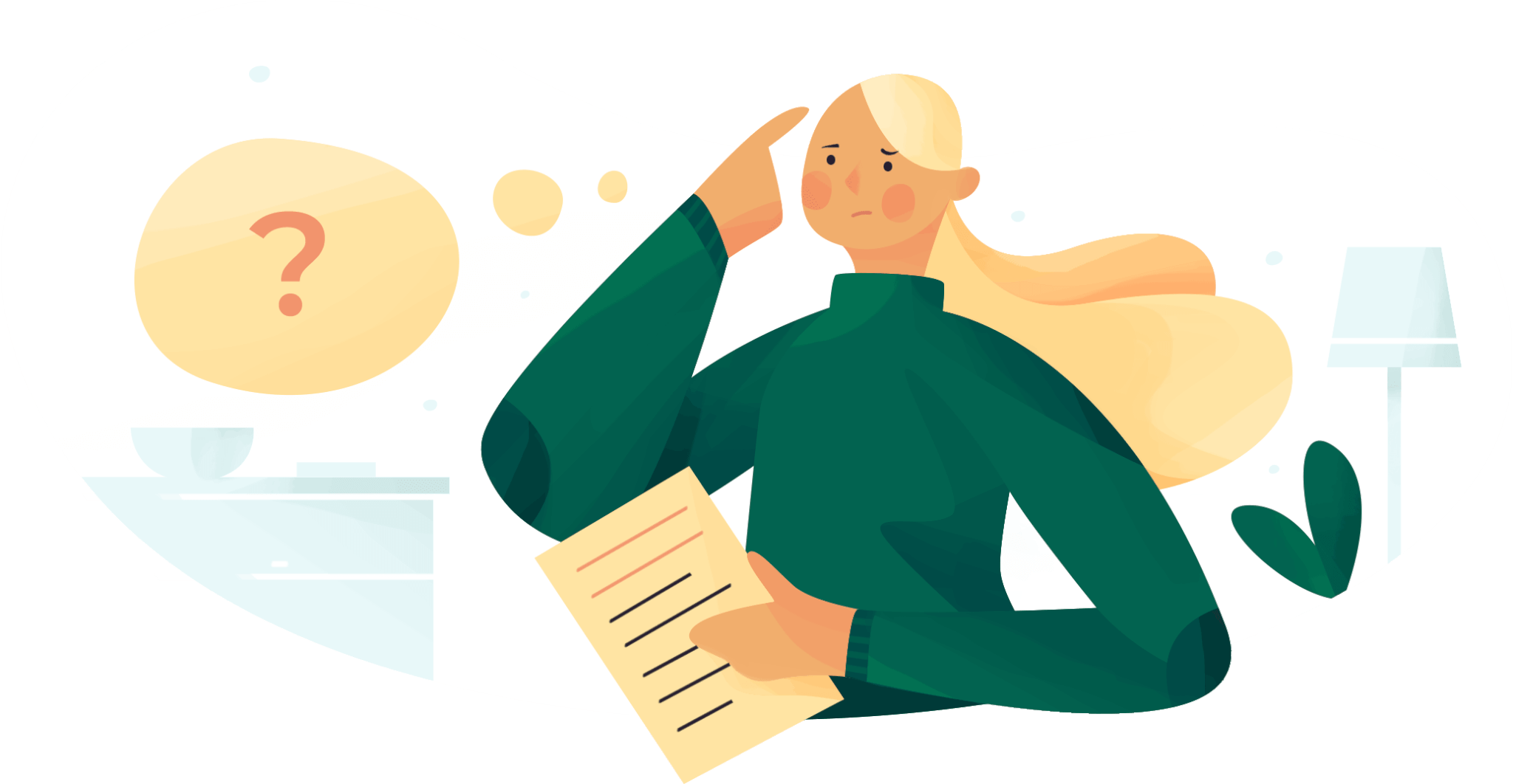 Woman holding a document, confused. Illustration