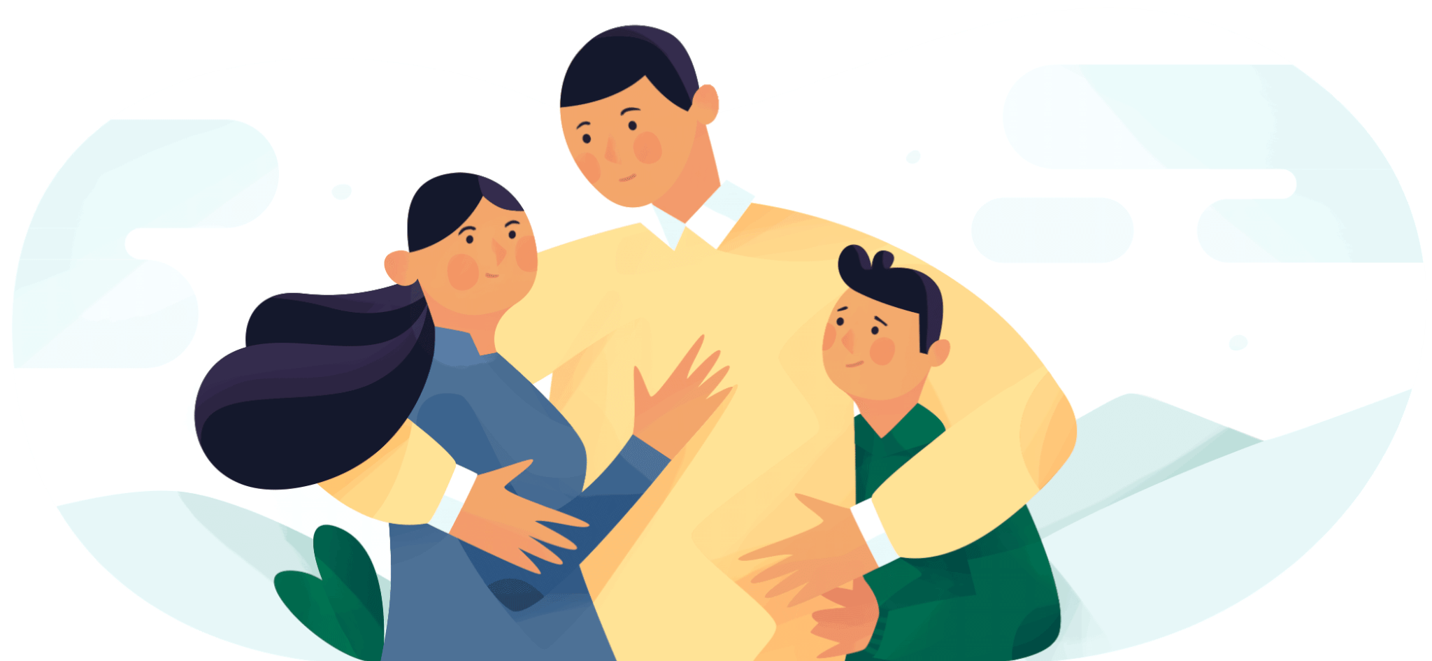 Man holding his wife and child. Illustration