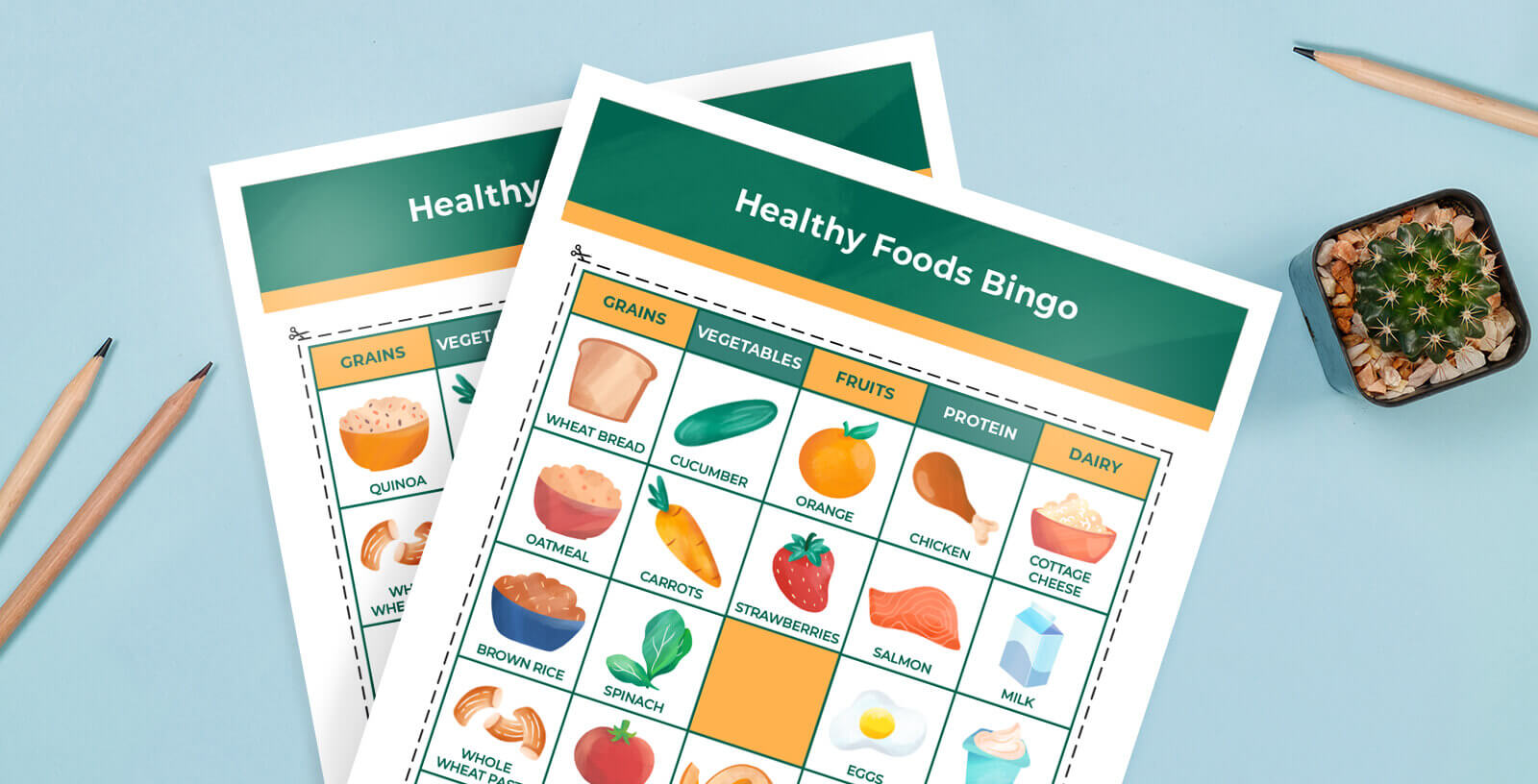 Healthy foods bingo game