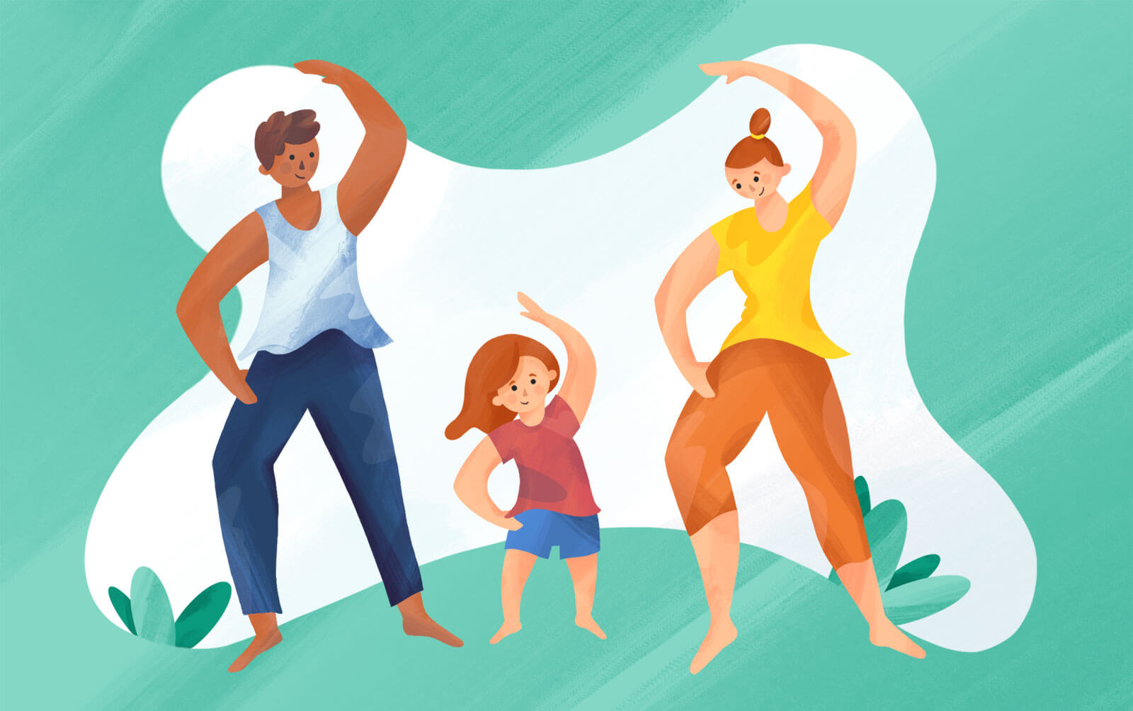 Family staying healthy with activity