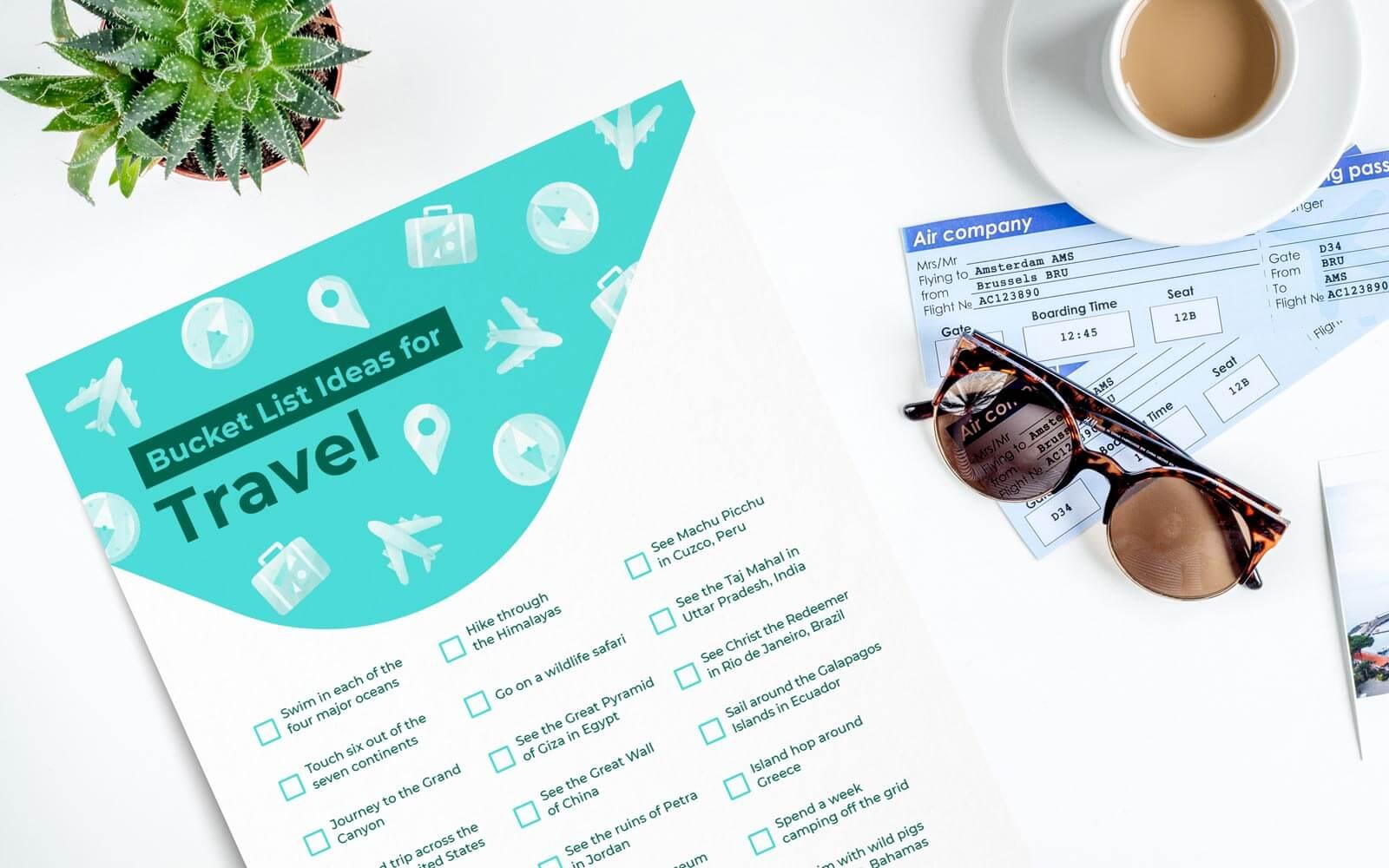travel bucket list ideas printable