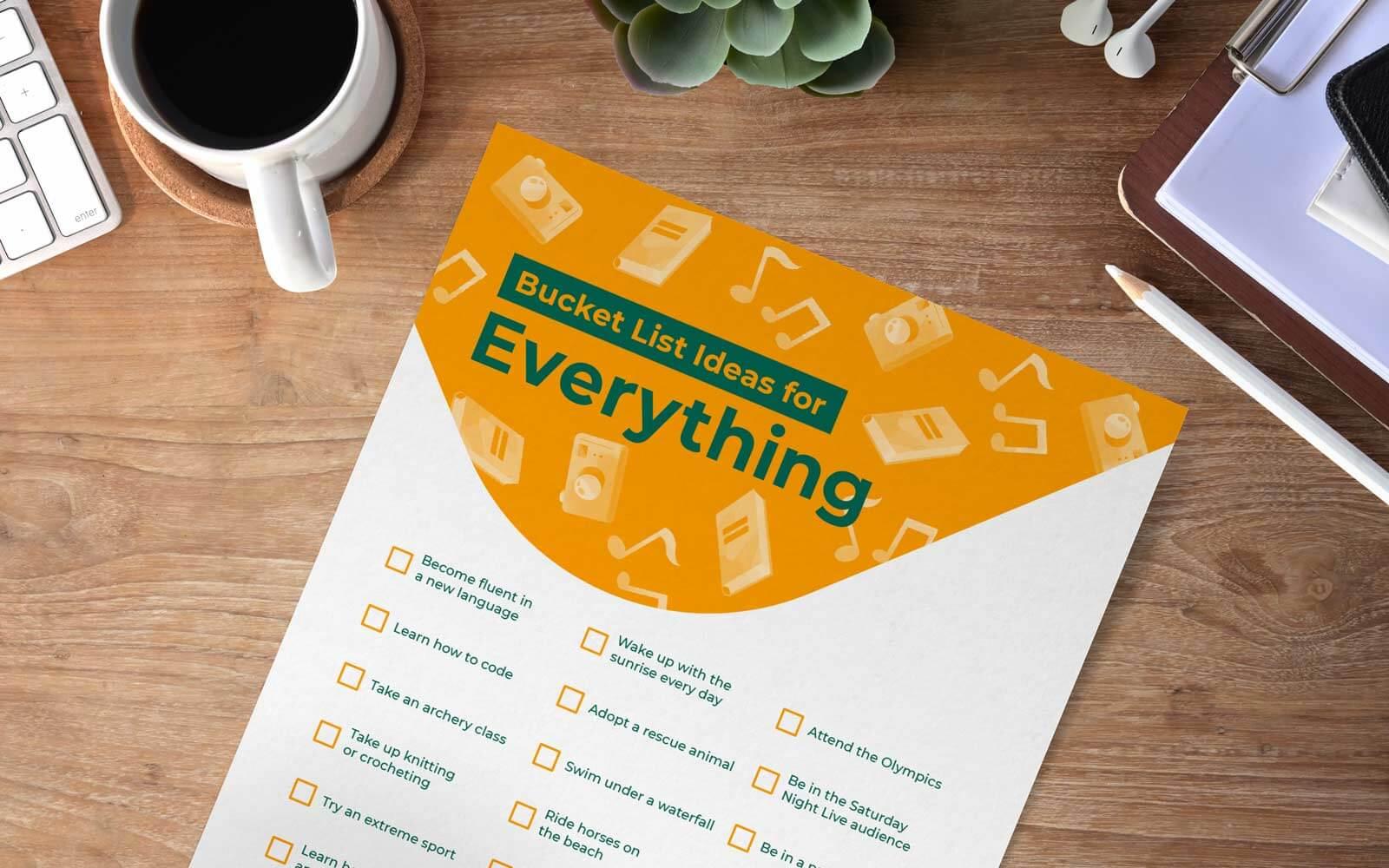 bucket list ideas printable