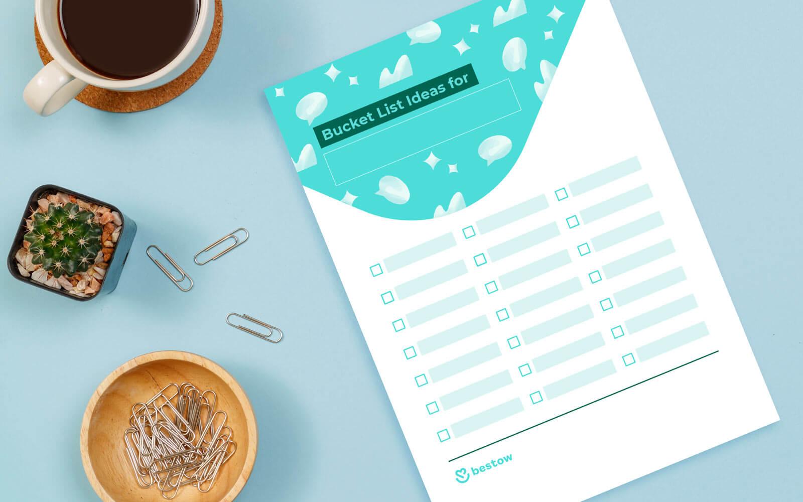 bucket list ideas printable template